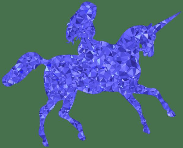 Clipart Sapphire Woman Riding Unicorn