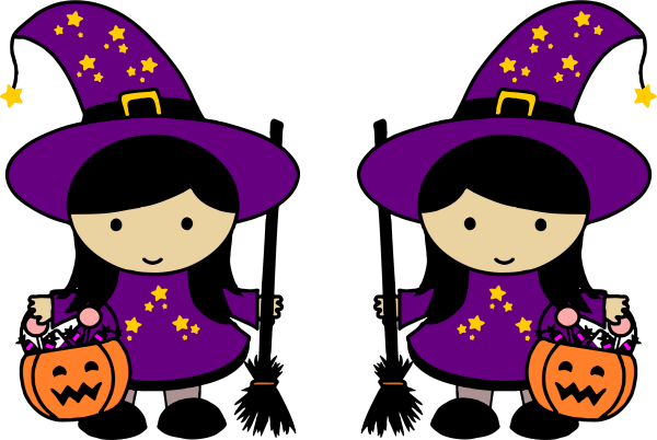 clipart - twin halloween witches