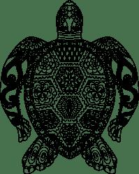 Clipart - Floral Sea Turtle Line Art