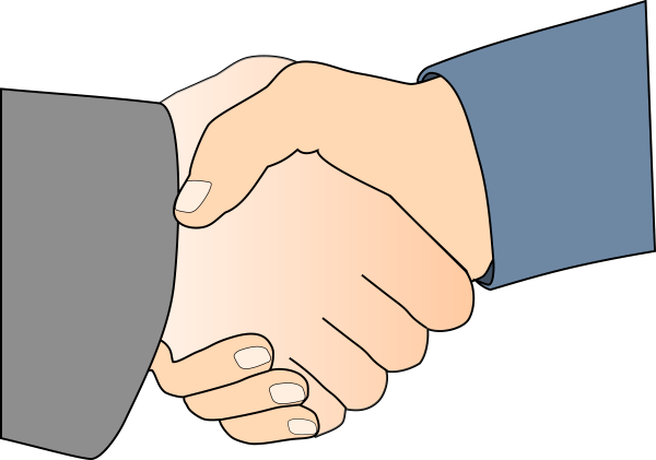 Clipart - Handshake With Black Outline White Man Hands