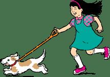 Cartoon People Walking Dogs