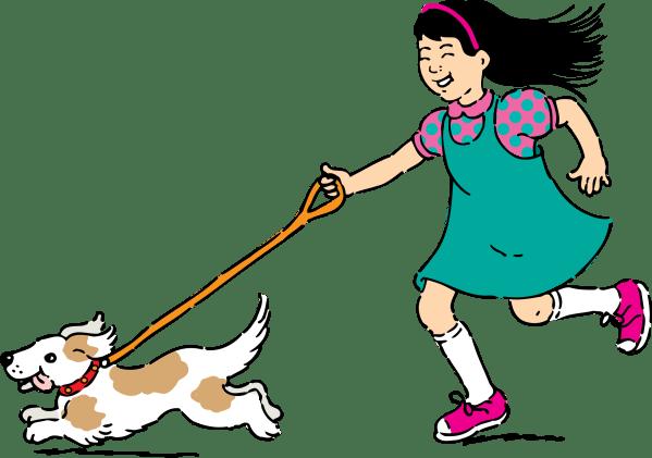 Cartoon Person Walking Dog