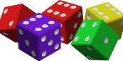 five colored dice by mariotomo - five dice in four colors