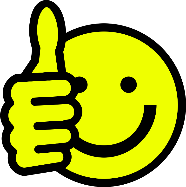 yellow smiley with one thumb up