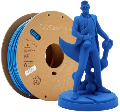 Shows the filament spool along with a model printed with it