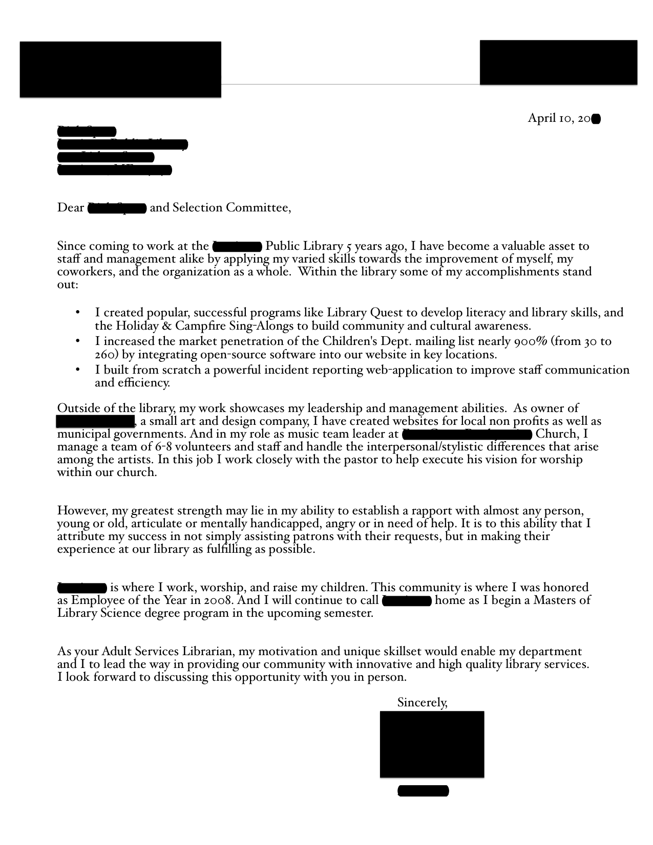 Adult Services Librarian resume and cover letter  Open Cover Letters