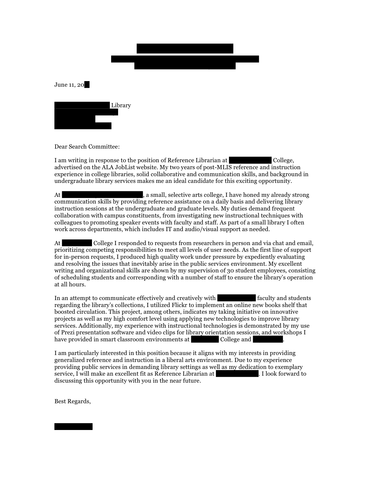 Reference Librarian cover letter  Open Cover Letters