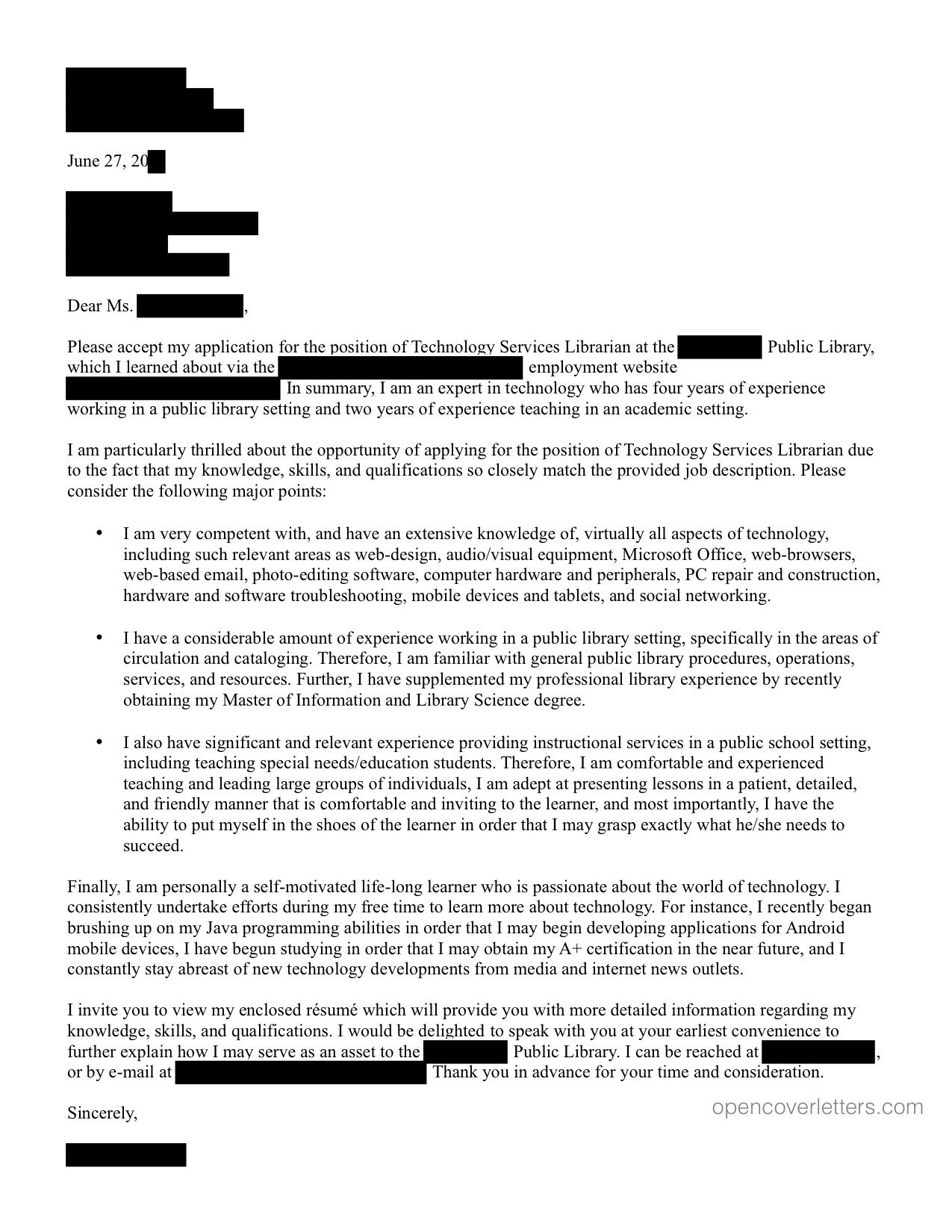 Public Open Cover Letters