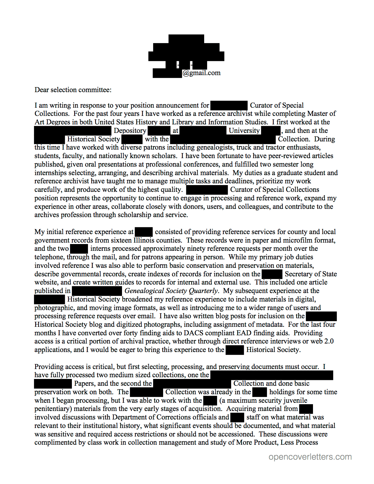 Archives & Museums Open Cover Letters
