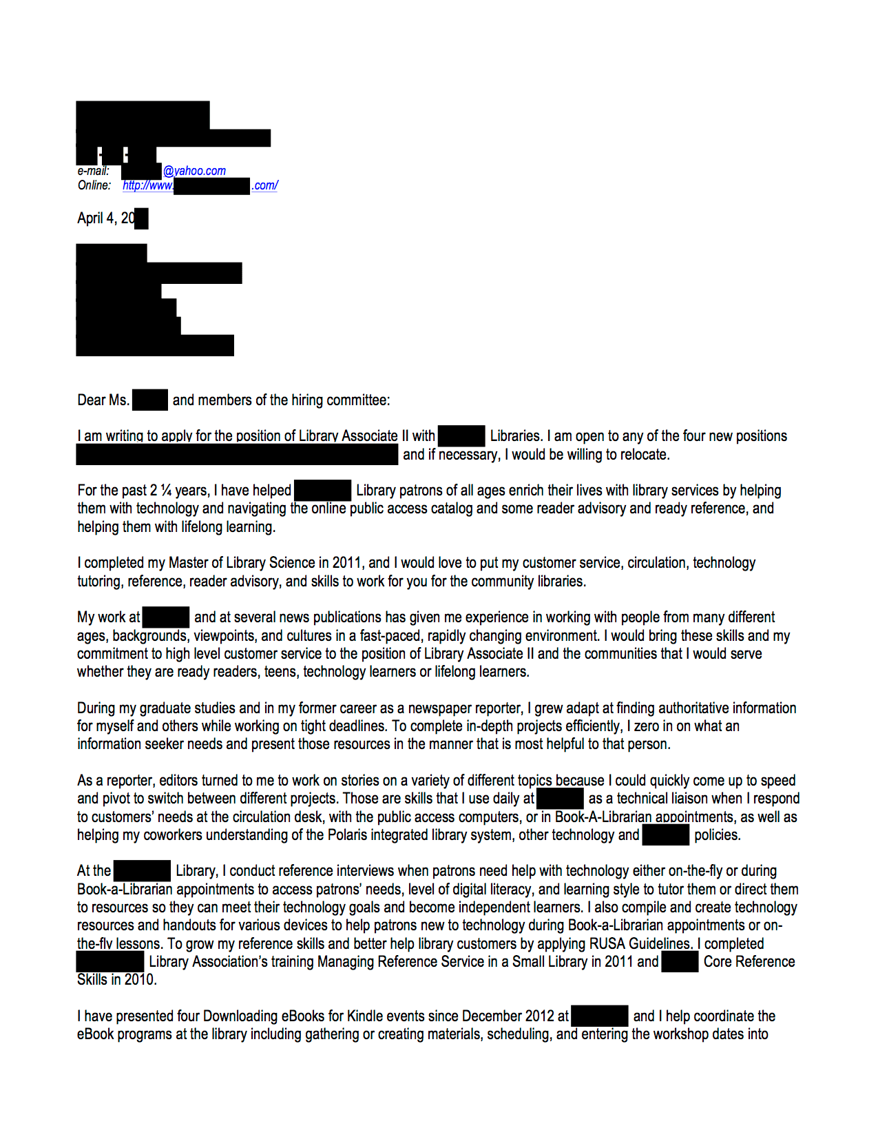 Multiple Pages Open Cover Letters