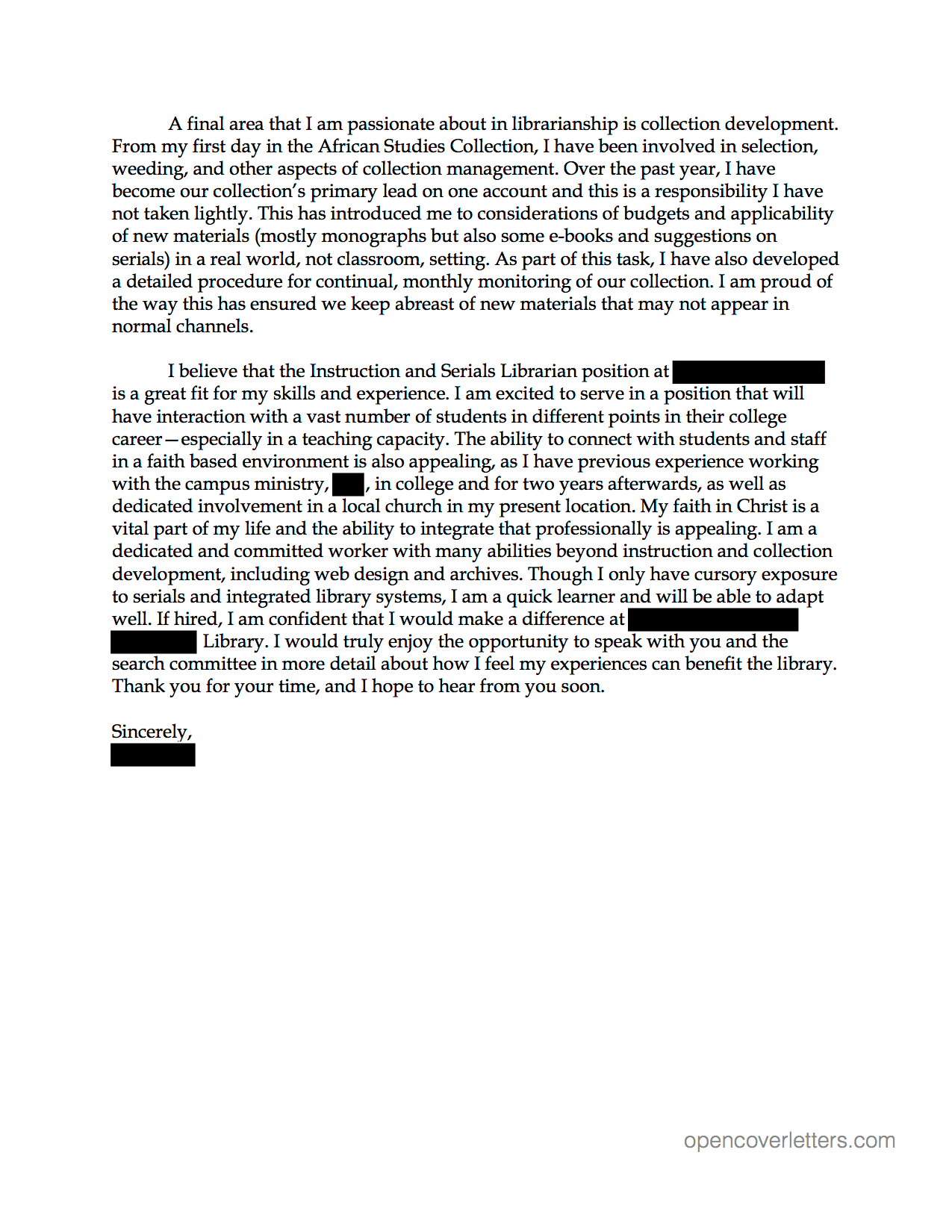 Instruction and Serials Librarian cover letter  Open Cover Letters