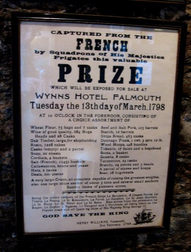 sale of goods advertisement, Rashleigh Inn, Polkerris