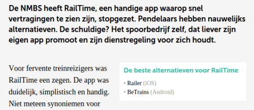 Best alternatives for RailTime: 2 iRail based apps are mentioned: BeTrains and RailerApp