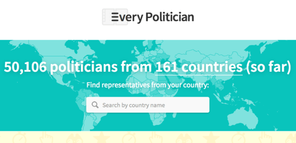 A screenshot of EveryPolitician.