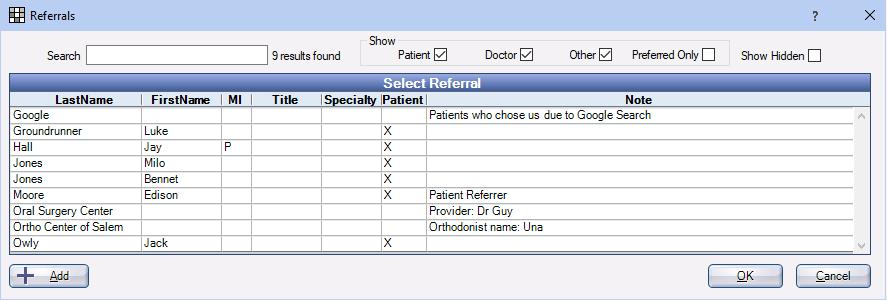 Referrals List