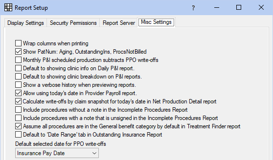 Reports Setup - Settings