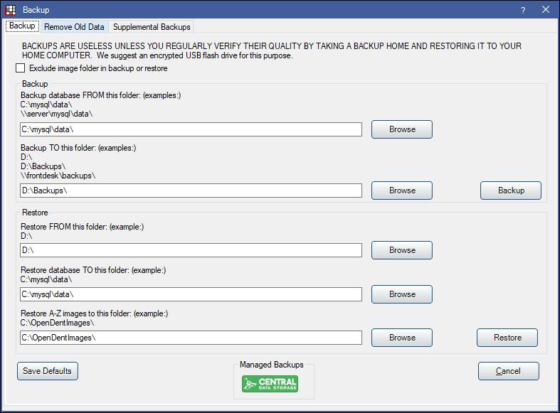 Manage Module: Backup