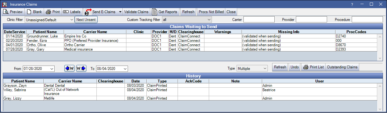 Manage Module: Send Claims