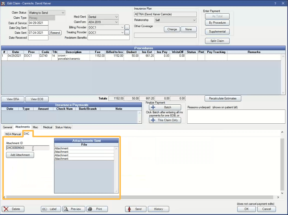 claim attachments tab
