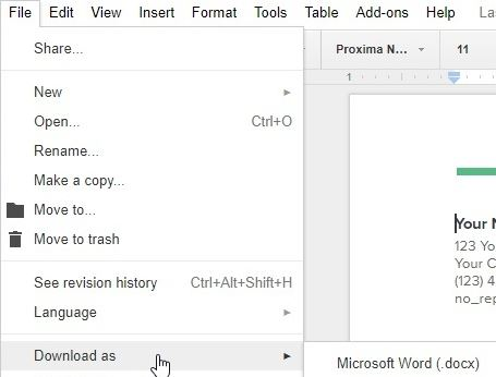 gdoc file in microsoft word