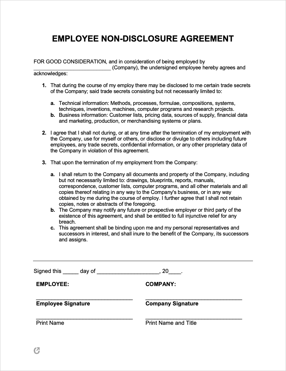 name of individual receiving information of address of individual. Free Employee Non Disclosure Agreement Template Pdf Word Rtf