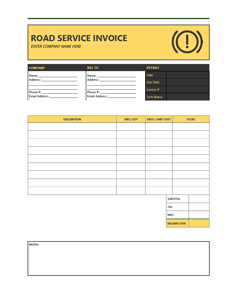 A towing service invoice is used to collect payment for any vehicle that is. Free Road Service Invoice Template Pdf Word Excel