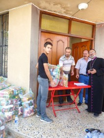 Distribution of relief, food packages