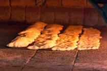 Bread rising in the oven.
