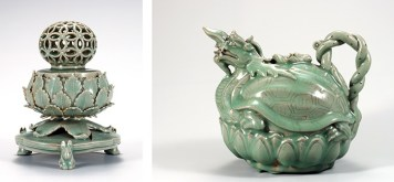 """Celadon Ceramics. Some of the world's most coveted and admired masterpieces of ceramics art were produced in Korea during the Goryeo and Joseon dynasties. Traditional Korean celadon ware has distinctive decorative elements. The most distinctive are decorated by overlaying glaze on contrasting clay bodies. With inlaid designs, known as """"Sanggam"""" in Korean, small pieces of colored clay are inlaid in the base clay. Carved or slip-carved designs require layers of a different colored clay adhered to the base clay of the piece. The layers are then carved away to reveal the varying colors."""