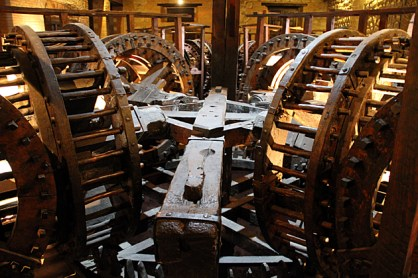 These gears are part of a massive, room-sized state-of-the-art machine, imported from Spain and later duplicated by indigenous craftsmen.
