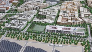 Masdar City in Abu Dhabi, the United Arab Emirates, is a planned community purpose-built to test innovative principles of sustainable technology and design.