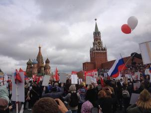 In the annual Immortal Regiment parade, over 500,000 Russians and foreign attendees march in commemoration of those who perished and those who survived World War II. Red Square, Moscow, 2017.