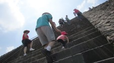 The ascent to the temple that once stood atop the Pyramid of the Sun is remarkably steep.