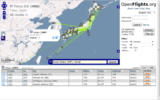 OpenFlights route map