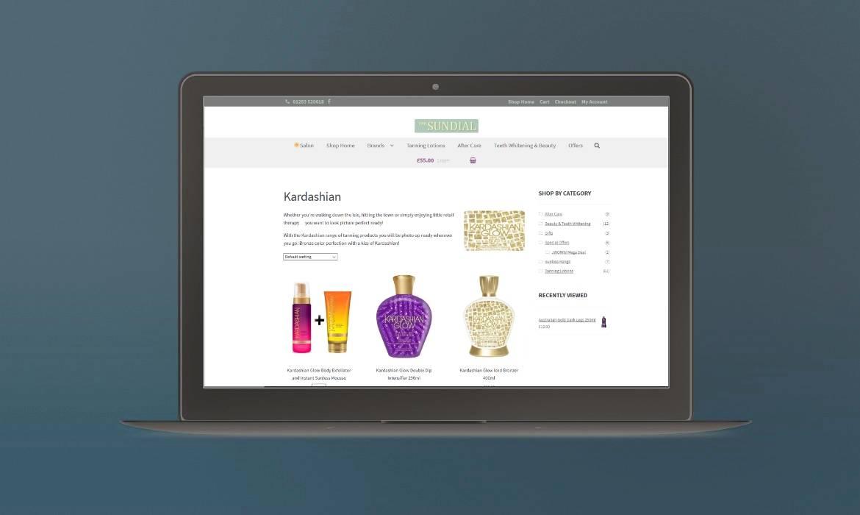 portfolio example of website design for Sundial Online Shop website