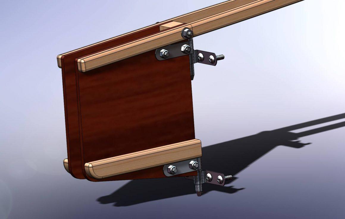 Oz Goose simple sailing dinghy urdderbox and tiller model in CAD - opengoose.com