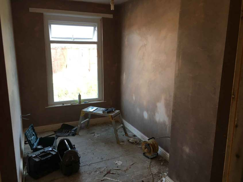 Replastered new bedroom