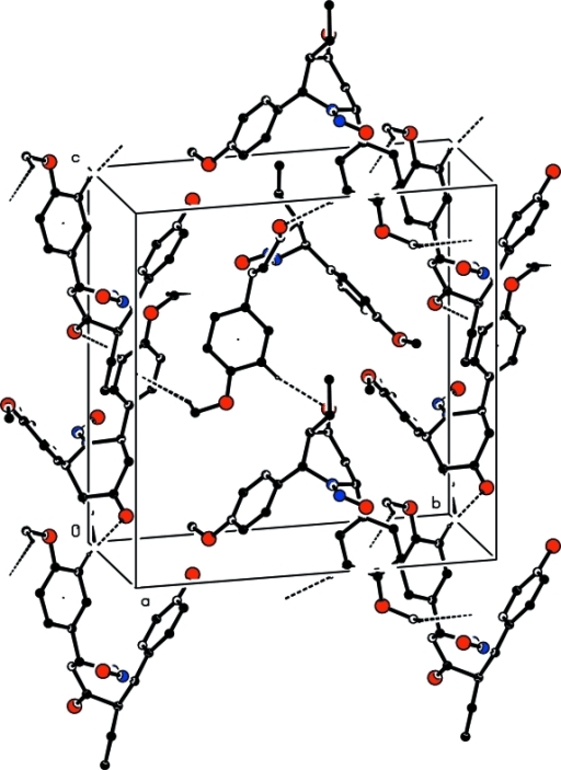 The molecular packing of the title compound, viewed app