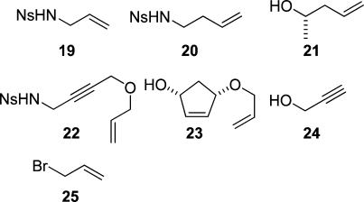 Reactants used to derivatize the linkers 1 and 18.