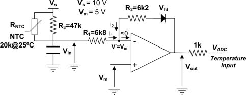 Signal conditioning circuit for the embedded temperatur