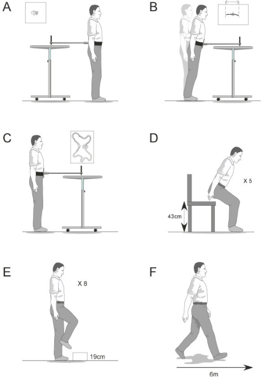 Balance and functional tests. A = postural sway, B = ma