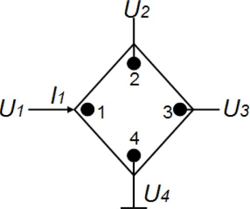 Diagram of measuring Z-matrix for a 90° symmetry Hall plate.