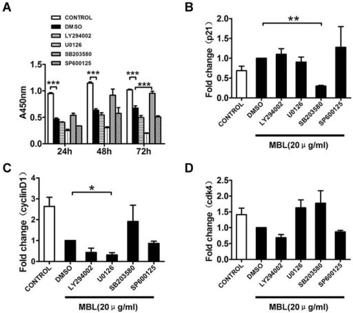Inhibition of p38 significantly abolished the inhibitor