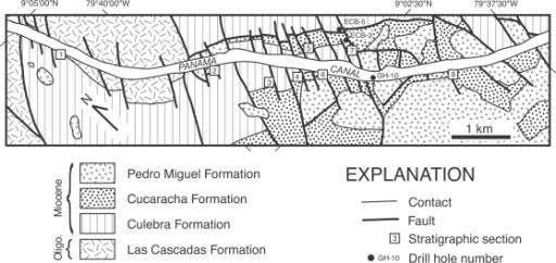 Geologic map of the study area along the Gaillard Cut p