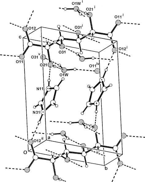 The three-dimensional structure of (I) viewed down the
