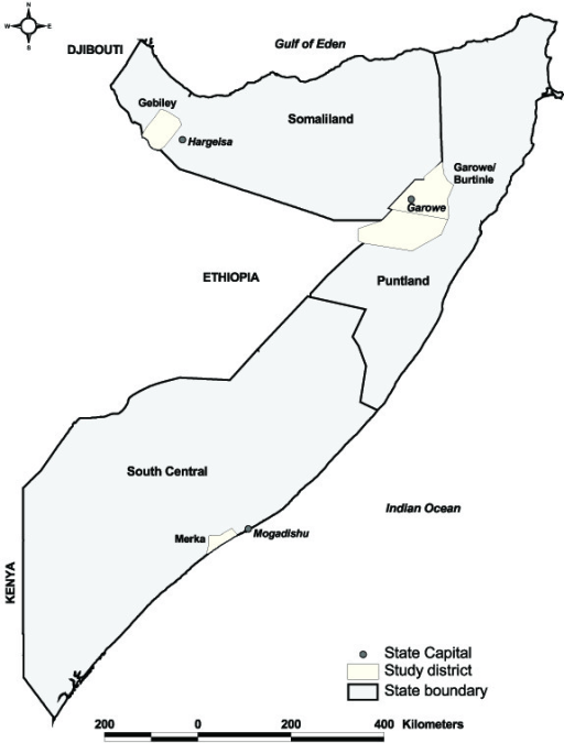Map of Somalia showing the two self-declared states (Pu