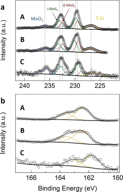 X-ray photoelectron spectra (XPS) for different CVD MoS