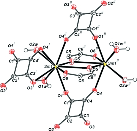 View of the molecular geometry of the title compound with