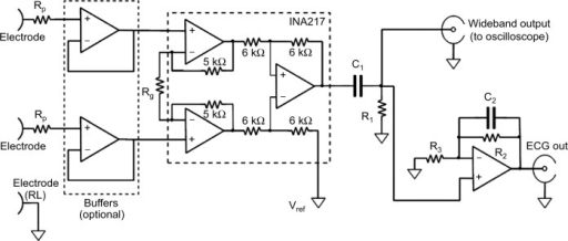 Schematic of the wideband biopotential amplifier.Abbrev