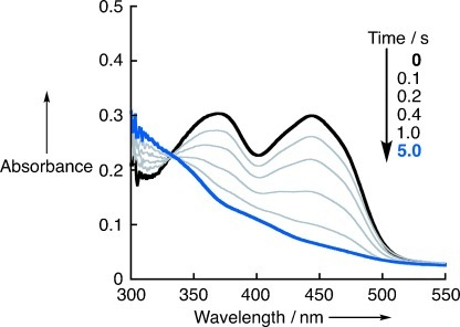 Changes in the UV/Vis absorption spectrum during the re